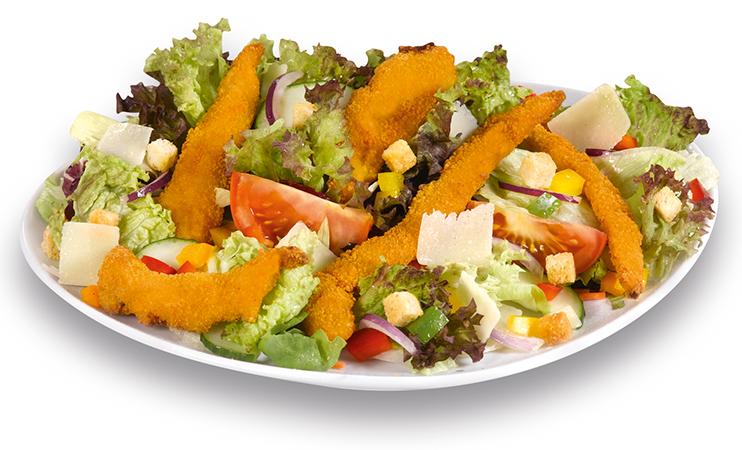 Chickenfrittes auf Salat