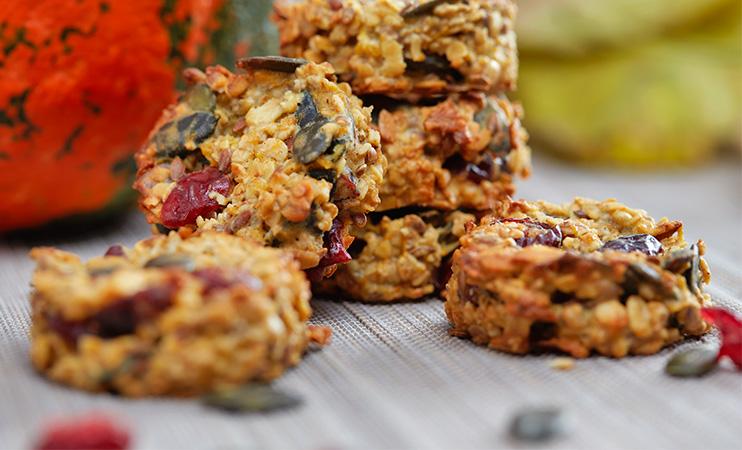 Breakfast Cookies mit Kürbis und Cranberries