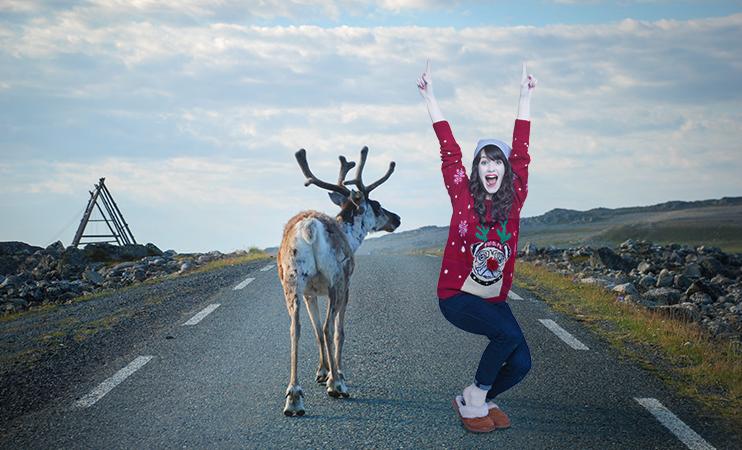Mia in Skandinaien bei den Rentiere