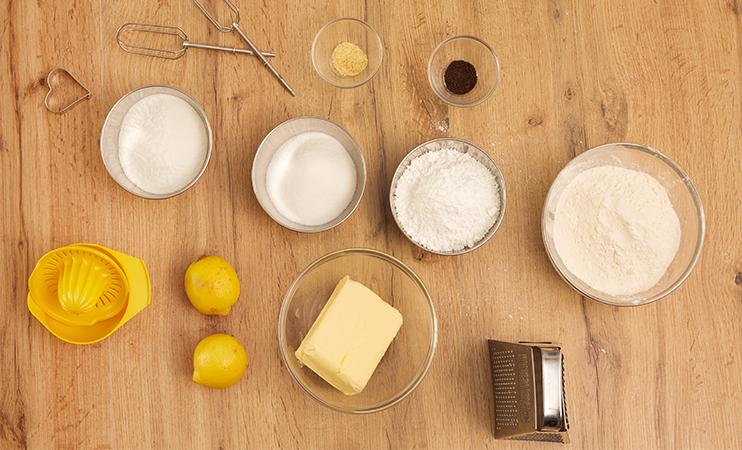 Die Zutaten für Zitronenplätzchen