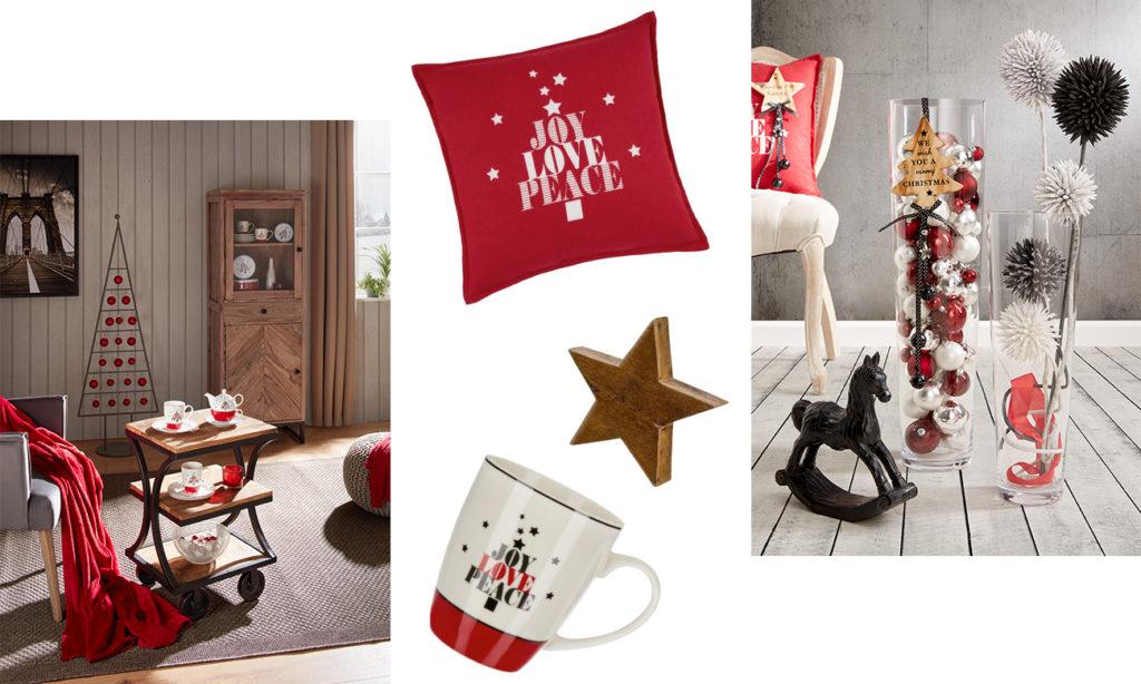 Urban Christmas - Collage in den Farben Rot, Weiß und Schwarz