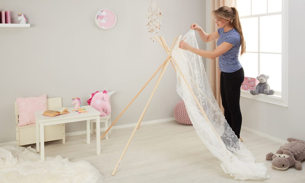 Fertigvorhang als Seitenwand für das Kinder Tipi Zelt