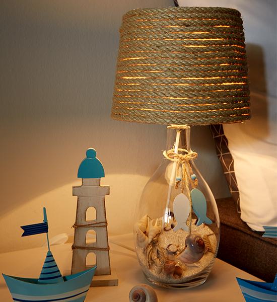 Und Fertig ist unsere maritime Leuchte für's Nachtkästchen
