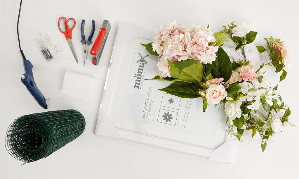 Blumenbilderrahmen mit Lichterkette - was benötigt man alles