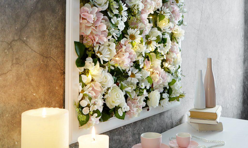 Blumenbilderrahmen mit Lichterkette selber machen5