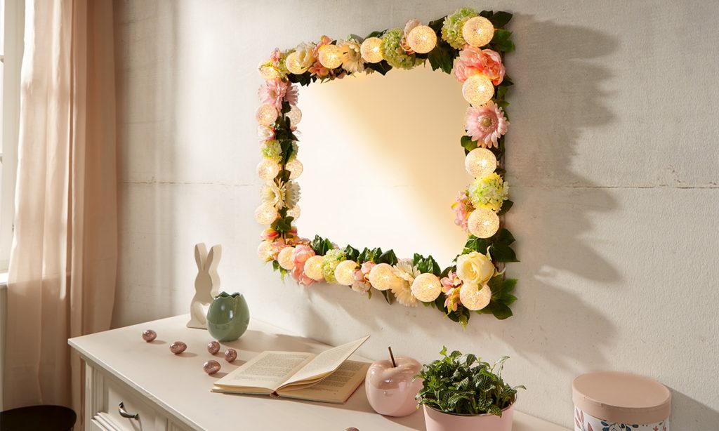 Blumen Spiegel mit Beleuchtung selber machen - mömax Blog
