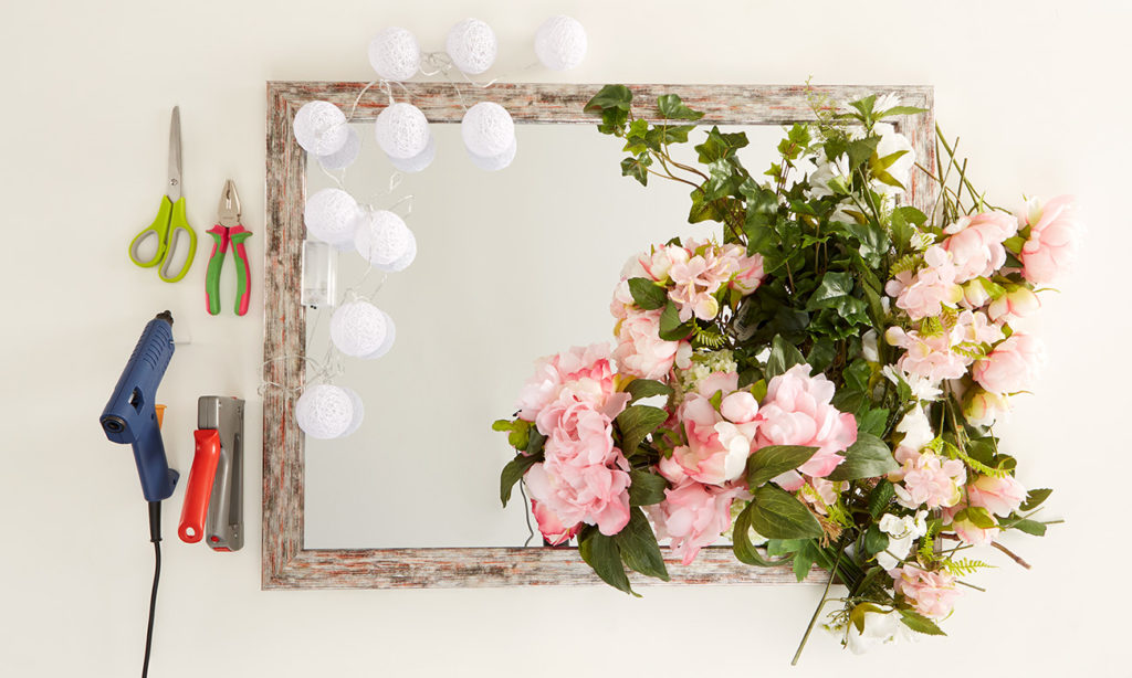 Blumen Spiegel mit Beleuchtung selber machen - was man alles benötigt