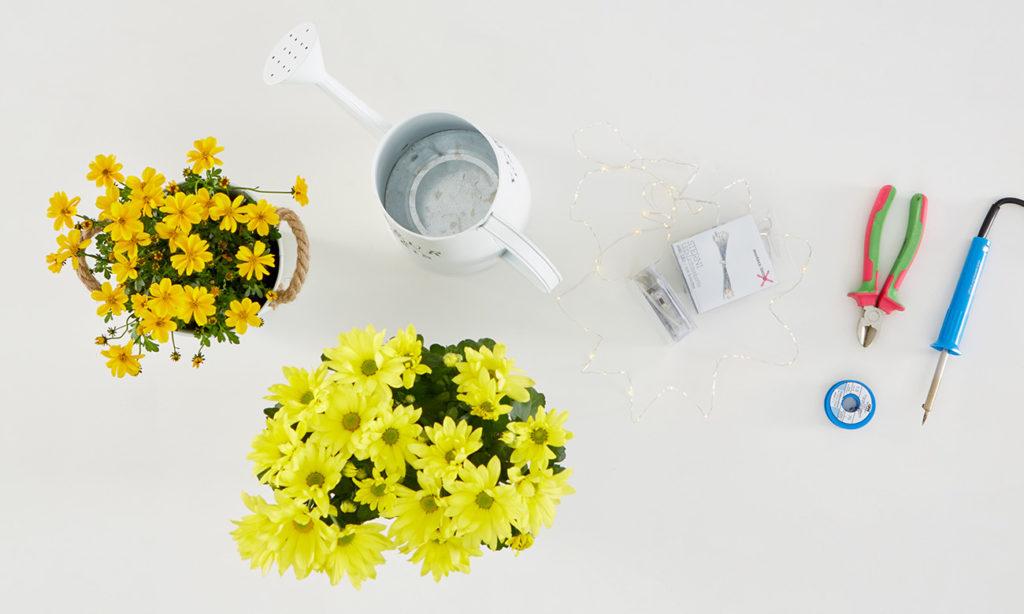 Gießkanne mit Lichterkette basteln - was man alles benötigt
