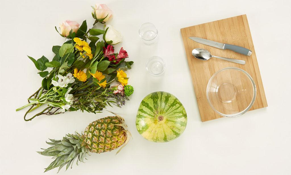 Sommerliche Ananas- und Melonenvase DIY - was man alles benötigt
