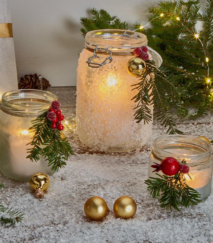 Weihnachtliches Windlicht selber machen