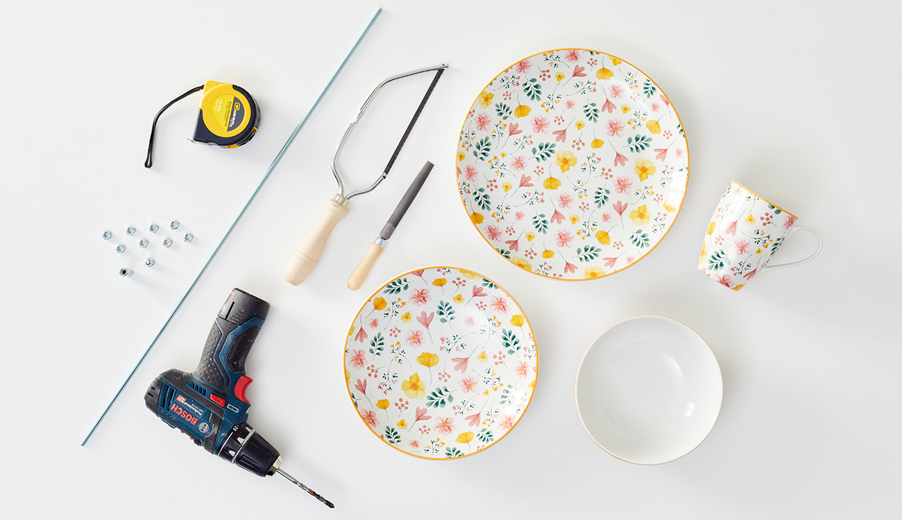 Etagere aus Geschirr DIY - was man alles benötigt