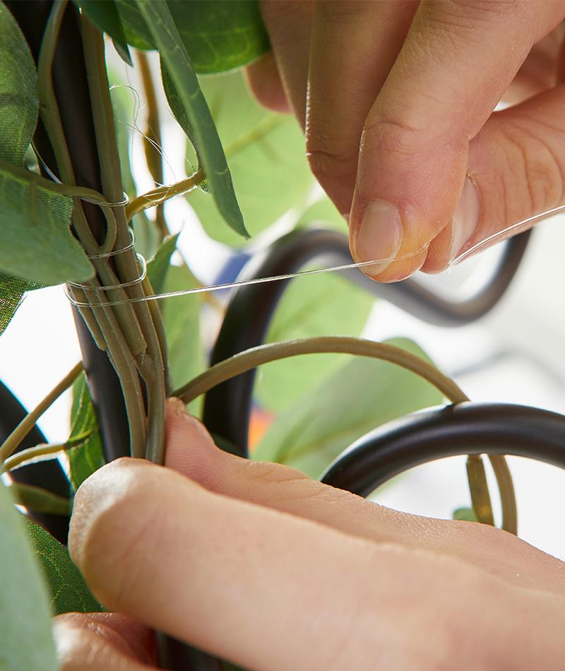 Dei Pflanzen mit Syk am Kronleuchter befestigen