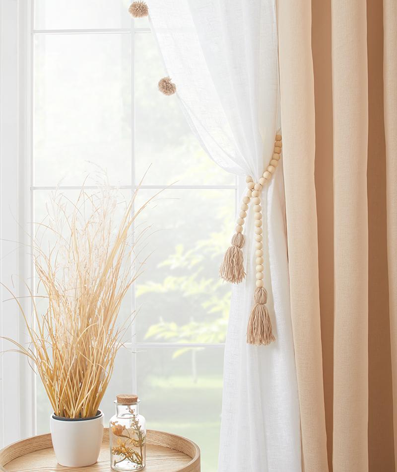 Vorhänge selber gestalten mit Pompons