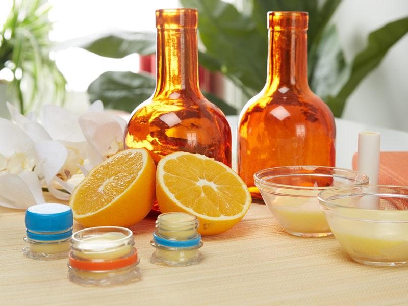 Lippenbalsam mit Honig und Orange